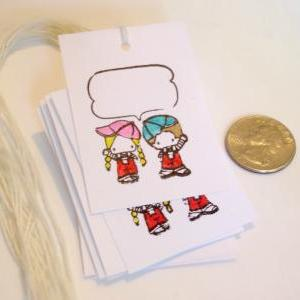 Comic bubble Boy and girl hand-colo..