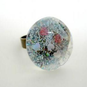 Pixie dust hand-painted glass caboc..