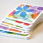 Handmade mini cards watercolor flor..