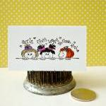 Girl fun handmade mini note cards b..
