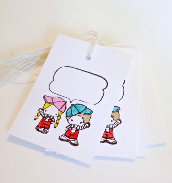 Comic bubble Boy and girl hand-colored gift tags Set of 6
