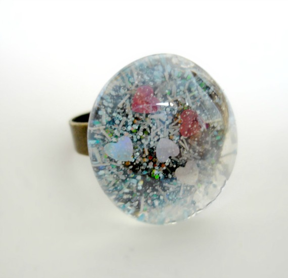 Pixie dust hand-painted glass cabochon ring Fashion Jewellery 1 Ring
