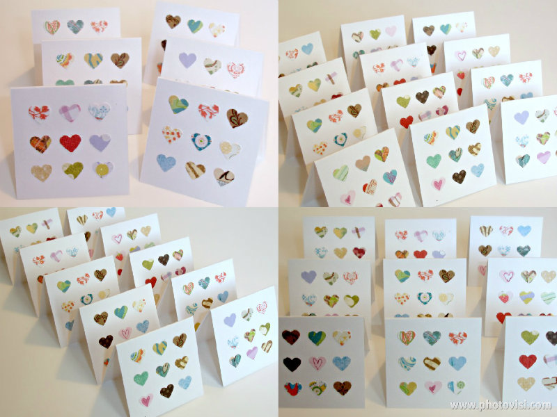 Multi hearts blank mini handmade cards Set of 6 mini note cards Lunchbox notes