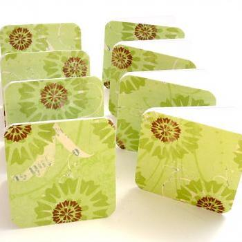 Green Floral Mini Note Card Set of 8 Handmade Mini Cards Any Occasion